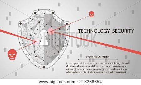 low poly wireframe background: Shield on digital data background. Illustrates cyber data security or information privacy idea. hi speed internet technology.Protection concept.vector illustration