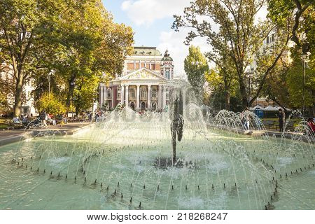 SOFIA, BULGARIA - OCTOBER 08, 2017: National theatre of Ivan Vazov, founded in 1904 year, and building for the theatre was built in 1906 year.