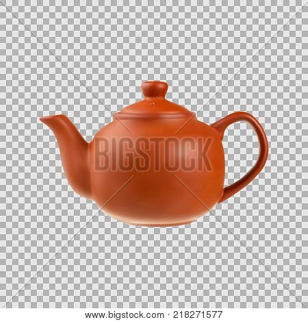 Teapot in a realistic style isolated on transparent background. 3d. Stock - Vector illustration for your design and business