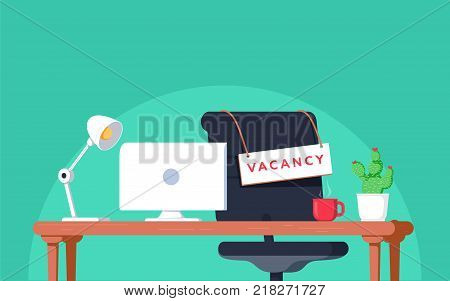 Office workplace with vacancy sign. Empty seat, chair in room for employee. Business hiring, recruitment concept. Vector illustration in flat style
