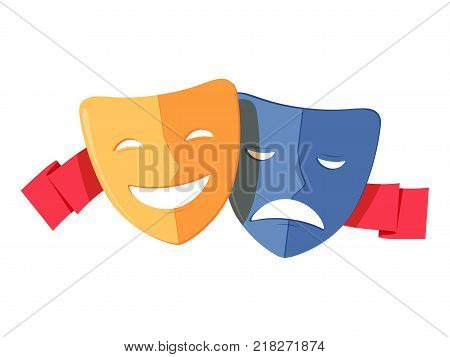 Traditional theater symbol, comedy and tragedy masks with red ribbon. Yellow happy and blue sad mask icon, vector illustration. Elements for design on the theatre theme.