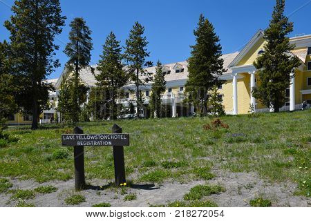 YELLOWSTONE NATIONAL PARK, WYOMING - JUNE 25, 2017: The Lake Hotel. The oldest and finest accommodation in the park is celebrating its 125th anniversary.