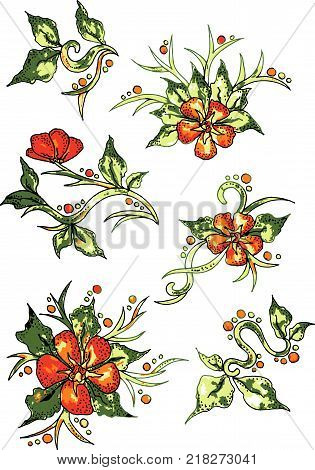 Colorful flowers white background pattern. Vector - stock