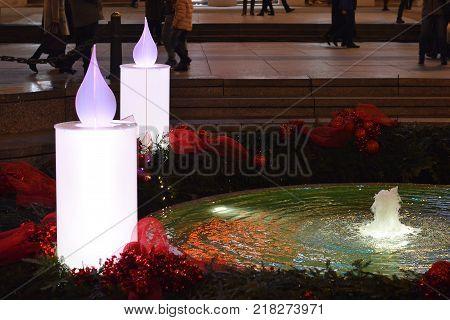 Advent in Zagreb, Croatia: Burning Advent candles at Mandusevac fountain