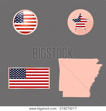 Map of the U.S. state of Arkansas on a gray background