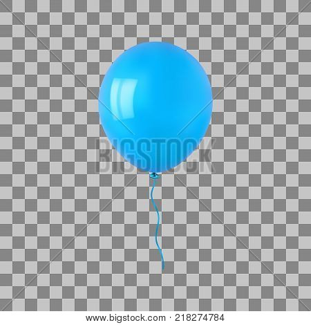 Cyan flying helium balloon. For decoration party, birthday, new year and celebrations. Realistic style isolated on transparent background. 3d. Stock - Vector illustration for your design and business