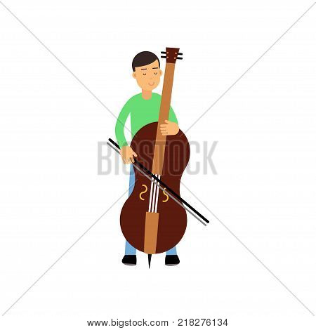 Illustration of happy brunette male character contrabass player. Artist young man musician playing double bass. Musical performance. Creative hobby concept cartoon flat design vector isolated on white