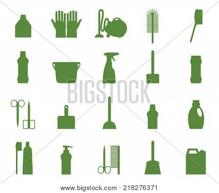 Cleaning icon set. Professional maid service, janitor supplies, home chores equipment collection. Vector flat style cartoon illustration isolated on white background