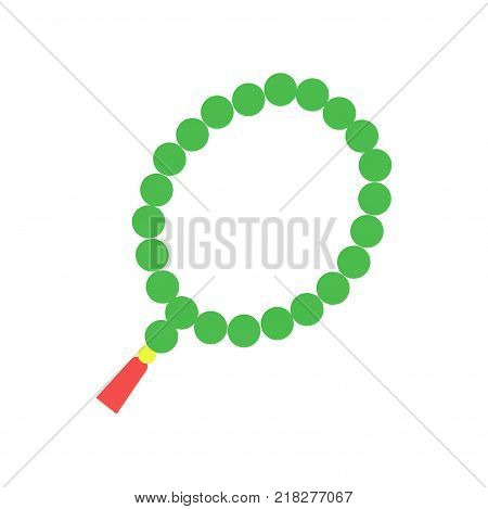 Colorful Muslim rosary with green beads and red tassel. Religious accessory, symbol of Islam. Icon in flat style. Cartoon vector illustration isolated on white background. Graphic design element.