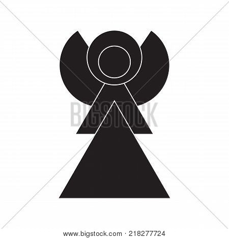 Angel Icon Symbol Design. Vector illustration of Angel silhouette isolated on white background. Simple shape style. Flat design. Can be use for decoration gifts greetings holidays etc.