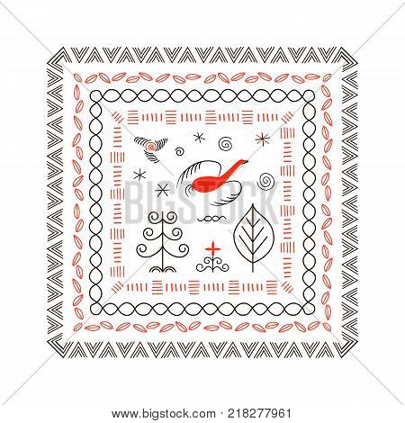 National northen paintings square frame. Folk handicrafts. Enchanting original ornaments. Simplicity. Red bird, stripes, archaic, minimalistic, scribbles. For prints, poster, wallpaper, web decoration poster