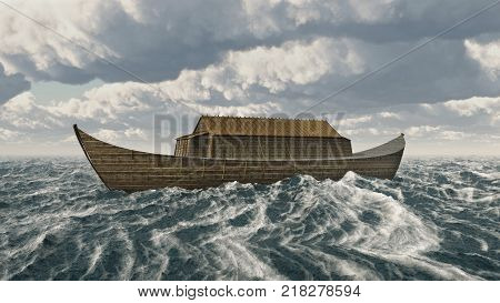 Computer generated 3D illustration with the Ark of Noah in the stormy sea