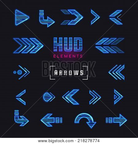 Futuristic interface hud design elements. Set of arrows, pointers, direction. Set of holographic arrows, pointers, direction for infographics. Effect glitch or neon or hologram.Tech and science theme.