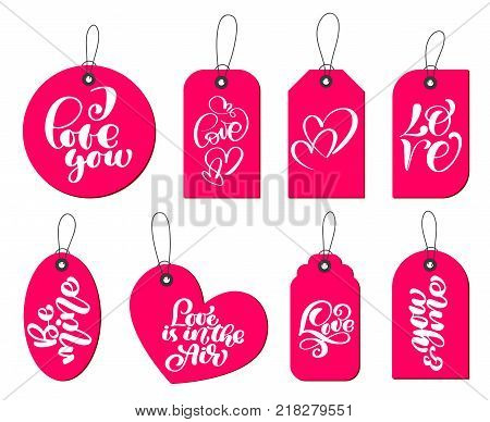Collection of hand drawn cute gift tags with the inscription I love you. Valentines Day, marriage, wedding, birthday, love, romantic theme.