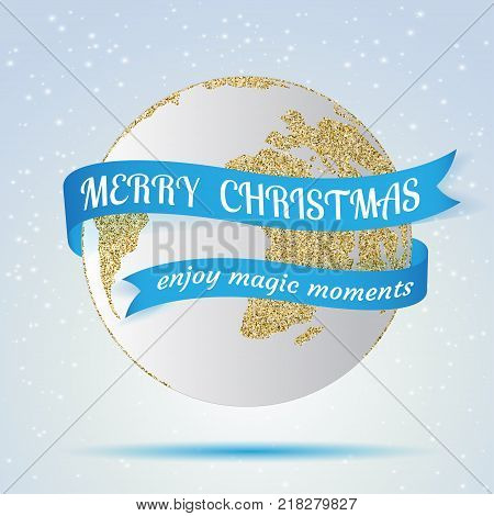 Merry Christmas, earth icon with red ribbon around it, hollyday decoration on winter background. Greeting card, brochure or poster template. Vector illustration.