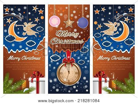 Christmas banners set. Angel on Christmas night in the winter forest. Merry Christmas. Christmas paper art. Vector illustration