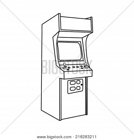 Arcade machine of videogame play retro and technology theme Isolated design Vector illustration poster