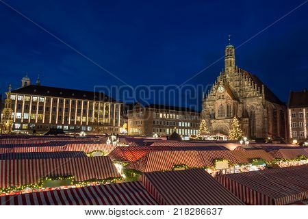 Panorama Of The Christmas Market In Nuremberg During Blue Hour