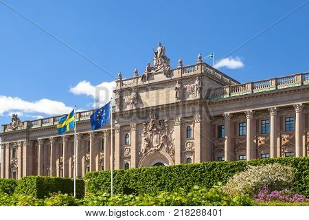 Swedish Parliament In The City Of Stockholm