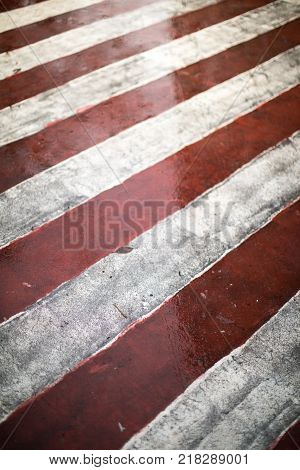Red And White Diagonal Road Markings For Fire Trucks