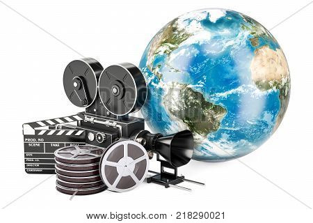 World cinematography film industry concept. 3D rendering isolated on white background