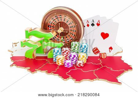 Casino and gambling industry in Poland concept 3D rendering isolated on white background