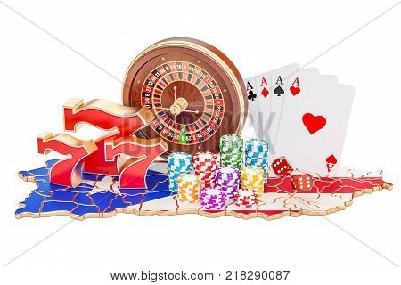 Casino and gambling industry in Puerto Rico concept 3D rendering isolated on white background