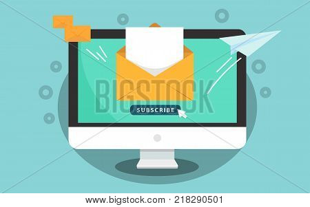 Subscribe for newsletter concept. Subscribe button with cursor on the computer screen. Open message with document. Paper airplane icon. Vector illustration