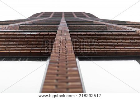 Fragment of a modern brick building in Moscow. Residential complex Garden Quarters.