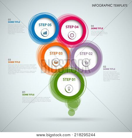 Info graphic with colorful abstract round speech bubbles vector eps 10