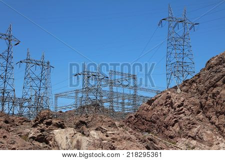 Pylon with electricity Power Lines at Hoover Dam on the Stateline of Nevada and Arizona. USA