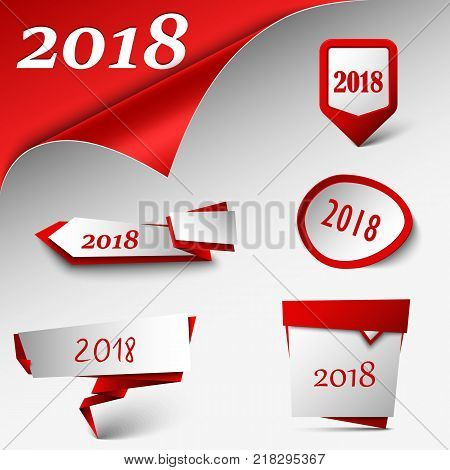 New Year card with collection red design pointers template vector eps 10