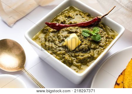 Sarson Ka Saag Makki Ki Roti popular north indian main course menu usually prepared in winter season