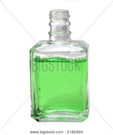 Refreshing Green Liquid In Glass Bottle