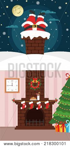 Christmas banner. Happy New year. Santa Claus climbing through the chimney. Night, moon, snow and star. Brick fireplace, Christmas tree and food for Santa.