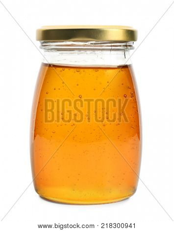 Aromatic honey in jar, isolated on white