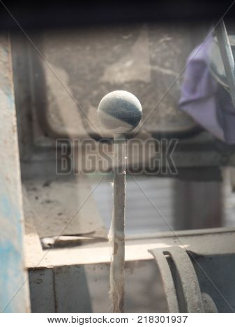 old tractor gearshift lever isolated. agriculture machine