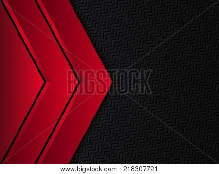 Black and red metallic background, Vector metallic banner, Abstract technology background