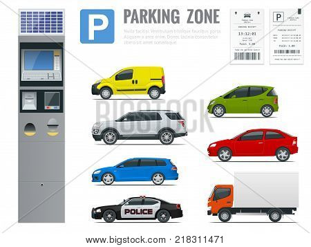Set of realistic modern terminal for paying for car parking, parking receipt and cars view from side Vector illustration