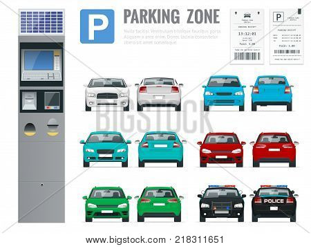 Set of realistic modern terminal for paying for car parking, parking receipt and cars front and rear view. Vector illustration