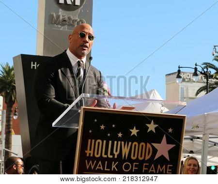 LOS ANGELES - DEC 13:  Dwayne Johnson at the Dwayne Johnson Star Ceremony on the Hollywood Walk of Fame on December 13, 2017 in Los Angeles, CA