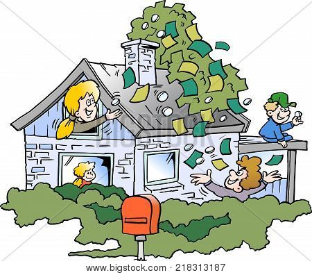 Cartoon Vector illustration of a happy family there has borrowed money in the property's real estate value