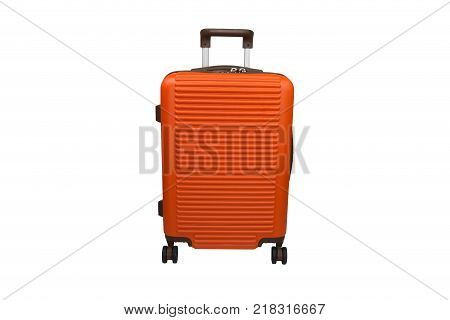 isolated new orange travelling baggage for design