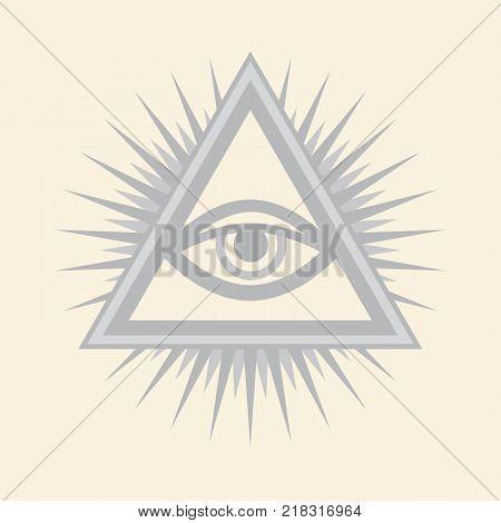All-Seeing Eye of God (The Eye of Providence | Eye of Omniscience | Luminous Delta | Oculus Dei). Ancient mystical sacral symbol of Illuminati and Freemasonry. - Silver Selenium version. poster