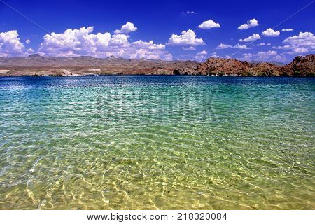 Lake Mohave beach on the Colorado River in the desert of the southwestern United States