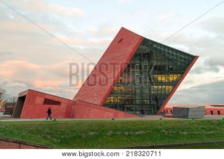 Gdansk, Poland - December 12, 2017: Building of Museum of the Second World War during sunset.