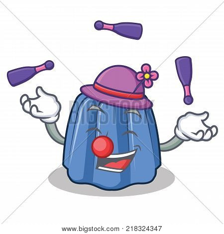Juggling jelly character cartoon style vector illustration