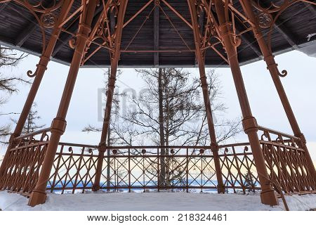 Vintage viewpoint in the popular ski and hiking Hrebienok resort (altitude 1285 m.) located in the High Tatras mountains National park. Slovakia.