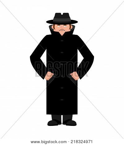 Spy in hat and coat isolated. Secret agent in cloak. Detective retro. Vector illustration.