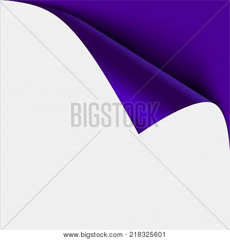 Blue page corner peel. Blank sheet of folded sticky paper note. Vector illustration sticker peel for advertising and promotional message isolated on white background